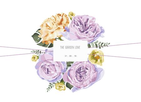 Jahrgang und luxuriöse Blumen Vektor-Grußkarte mit Blumen im Garten