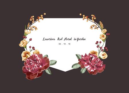 illustration invitation: Luxurious red bouquet floral invitation card ,vector Illustration Illustration