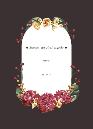 Luxurious red bouquet floral invitation card and white label ,vector Illustration