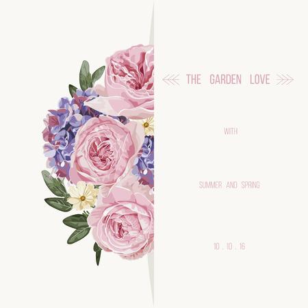 Romantyczny kwiatu karty z zabytkowe kwiaty zaproszenia.Vector ilustracji