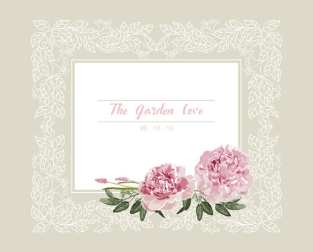 Romantic wedding invitation. Vintage card with pink and yellow flowers and floral white outline frame vector.