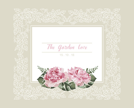 Romantic wedding invitation. Vintage card with pink flowers and floral white outline frame vector.