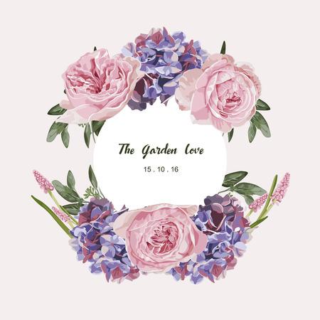 Ramo floral romántico. Florezca la etiqueta de la tarjeta y del círculo. Ilustración del vector