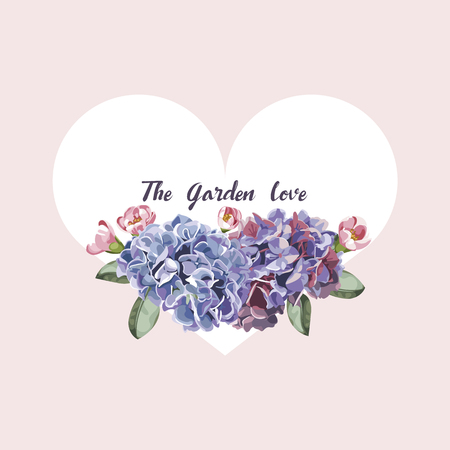 garden flower: Purple and pink floral in garden invitation card, flower pattern and heart vector illustration