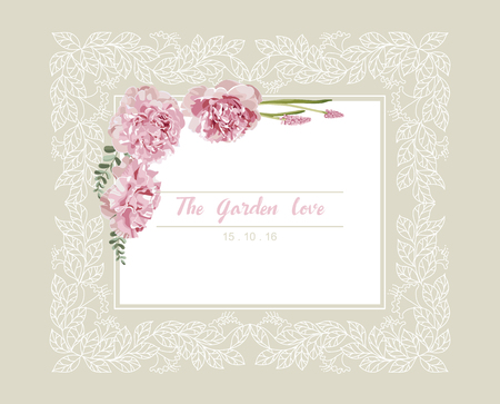 wedding frame: Romantic wedding invitation. Vintage card with pink and yellow flowers and floral white outline frame vector.