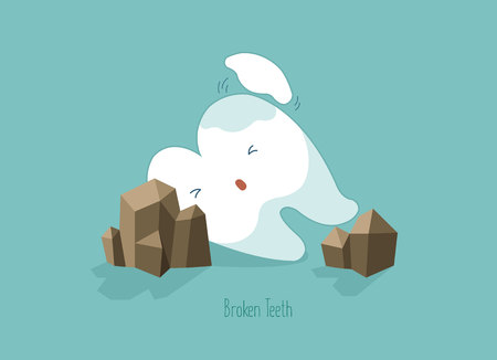 Tooth fall and make it broken,teeth and tooth concept of dental Illustration