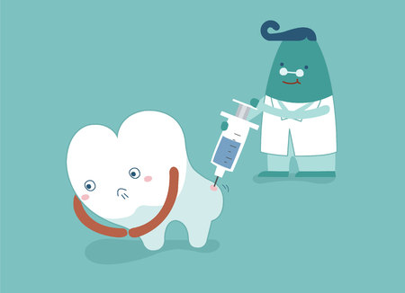 Dentist going to inject tooth, concept of dental
