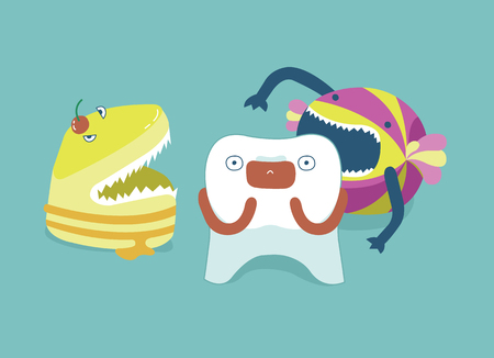 Monster candy  bite tooth ,teeth and tooth concept of dental Stock Illustratie