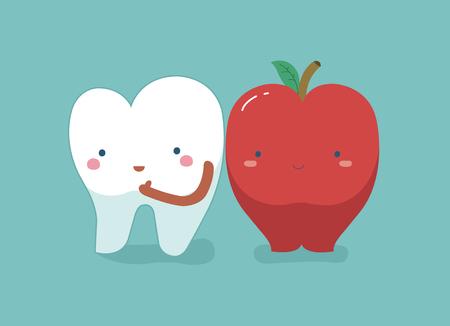 Dent saine et fraîche pomme, dents et dent concept de dentaire