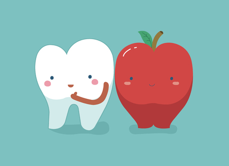 Tooth healthy and fresh apple ,teeth and tooth concept of dental