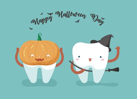歯科の幸せなハロウィーンの日、歯および歯コンセプト  イラスト・ベクター素材