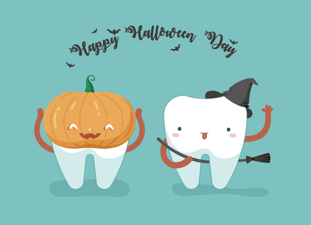 Happy Halloween day ,teeth and tooth concept of dental