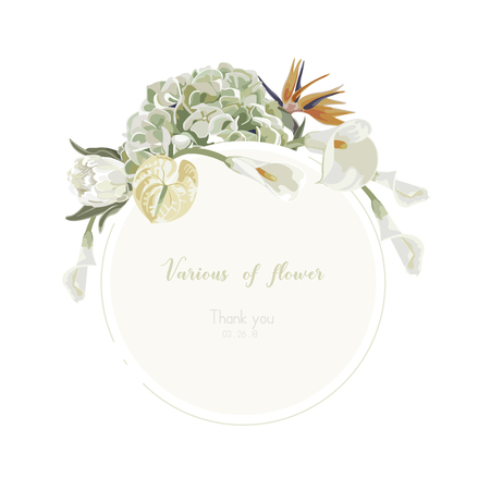 Orchids floral bouquet . Flourish greeting card and circle label . Illustration