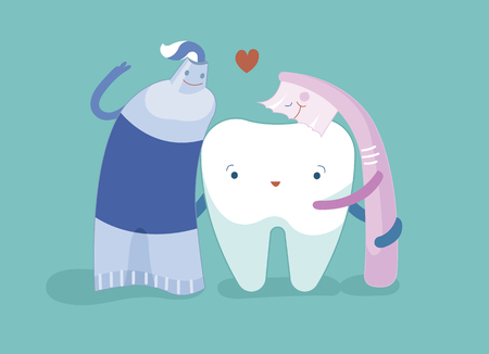 Toothpaste, toothbrush and tooth are friend together, dental concept. 矢量图像