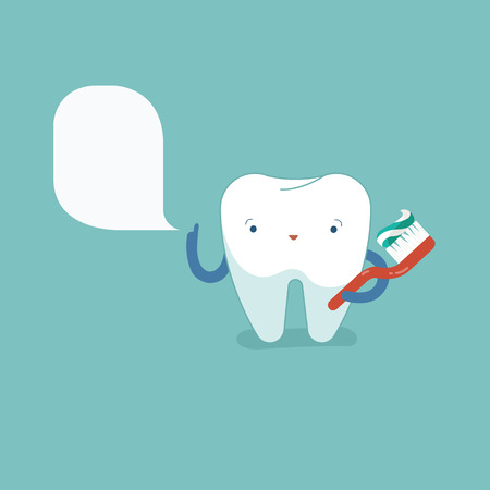 Tooth is brushing with toothbrush, dental concept.