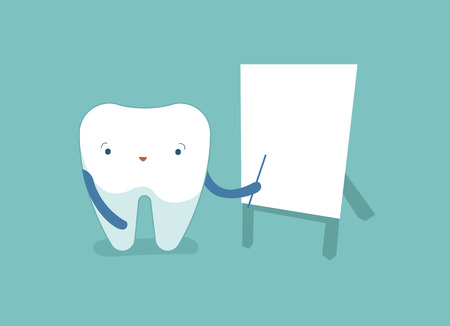 Tooth point at the whiteboard, dental concept.