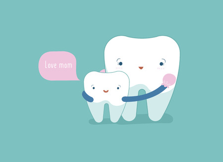 Love Mom , tooth and teeth of dental concept.