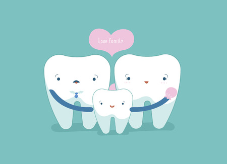 Love family of dental, tooth and teeth concept. 矢量图像