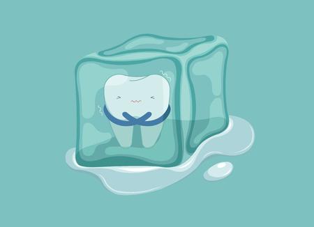 Diente sensible con hielo, concepto dental. Ilustración de vector