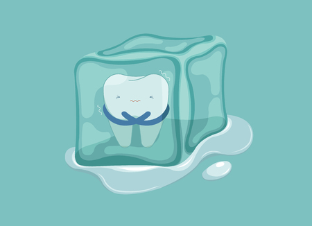 Sensitive tooth with ice, dental concept. Illustration