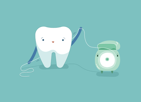 Tooth using dental floss for white teeth, dental vector concept. 矢量图像