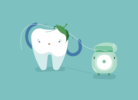 Tooth using dental floss for white teeth, dental vector concept. Çizim