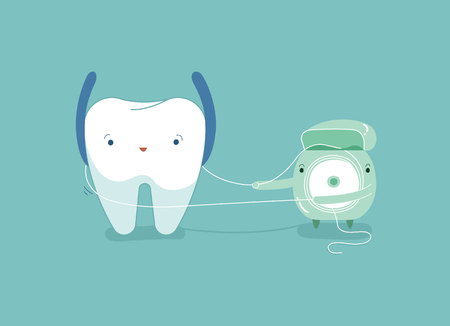 Tooth using dental floss for white teeth, dental vector concept. Illustration