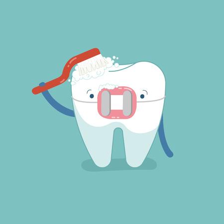 Brace tooth brushing with toothbrush, dental cartoon design.
