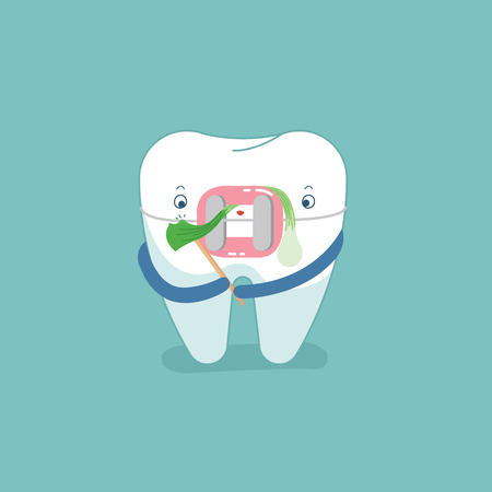 Food stuck in brace tooth, dental concept design vector.