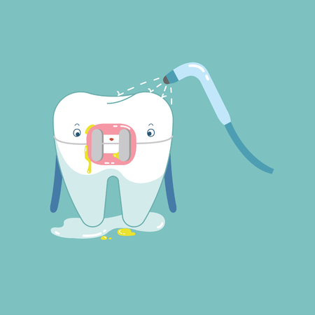 cleaning brace tooth for healthy dental, dental cartoon vector.