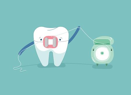 Brace tooth using dental floss for white teeth, dental vector concept. Ilustração