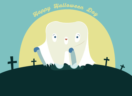 Halloween day of dental, tooth fantacy concept. Illustration