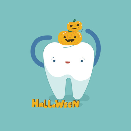 Halloween day of dental, tooth fantacy concept. 矢量图像