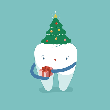 Christmas tree's hat on tooth, Christmas festival of dental.