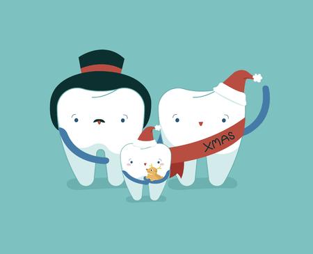 Family dental on Christmas day, dental concept. 矢量图像