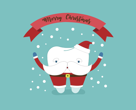 Merry Christmas of dental with santa claus tooth.