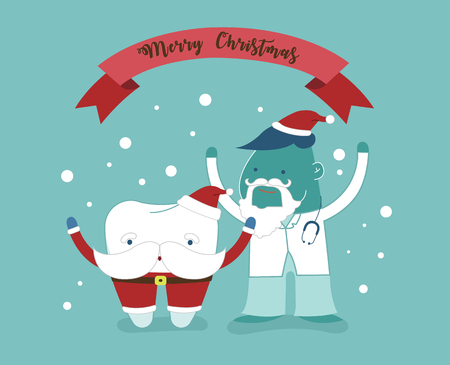 Merry Christmas of dental with santa claus tooth and dentist.