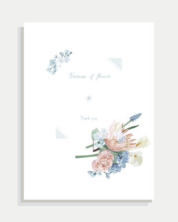 Floral wedding invitation card and vector greeting with flower. Imagens - 127695851