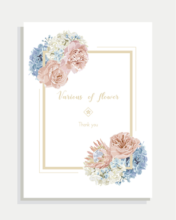 Floral wedding invitation card and vector greeting with flower. 矢量图像