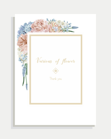 Floral wedding invitation card and vector greeting with flower. Illustration