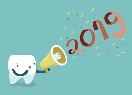 Happy new year of dental, tooth saying with megaphone,Single white tooth, healthy tooth, oral hygiene, vector modern flat cartoon charactor illustrator, blue background for care kid dentistry and dental concept. 矢量图像