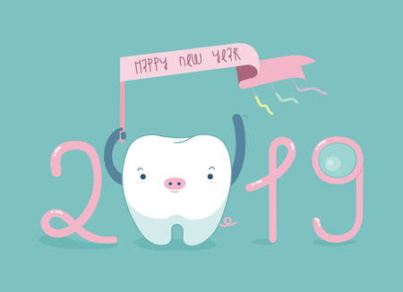 Happy new year 2019 of dental, pig's tooth,Single white tooth, healthy tooth, oral hygiene, vector modern flat cartoon charactor illustrator, blue background for care kid dentistry and dental concept.