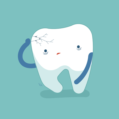 Crack tooth, pain tooth, oral hygiene, vector modern flat cartoon charactor illustrator, blue background for care kid dentistry and dental concept. 矢量图像