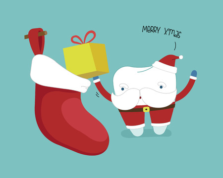 Merry christmas of dental, Santa's tooth with present put in sock, Single white tooth, healthy tooth, oral hygiene, vector modern flat cartoon charactor illustrator, blue background for care kid dentistry and dental concept.
