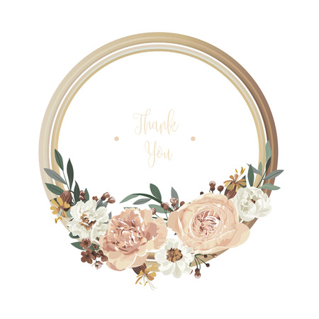Luxury floral greeting card with orange, white, brown and yellow flowers on white backgroud and wooden circle frame. 矢量图像