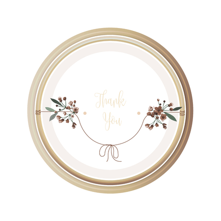 Luxury floral greeting card with orange, white, brown and yellow flowers on white backgroud and wooden circle frame. Illustration