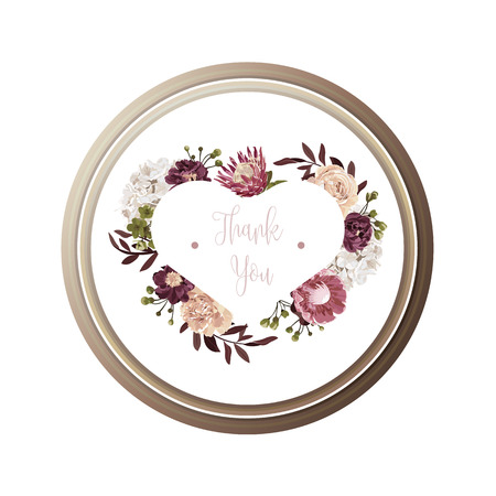 Red luxury floral greeting card with white, green and purple flowers on white backgroud and wooden circle frame.