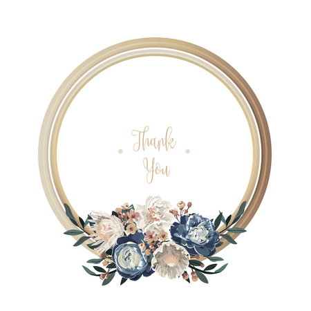 Blue luxury floral greeting card with white, green and purple flowers on white background and wooden circle frame.
