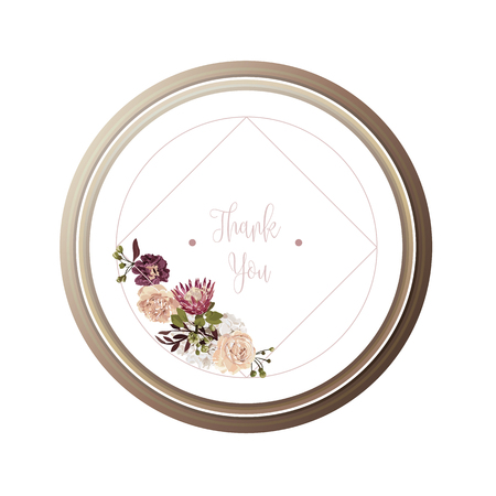 Red luxury floral greeting card with white, green and purple flowers on white background and wooden circle frame.
