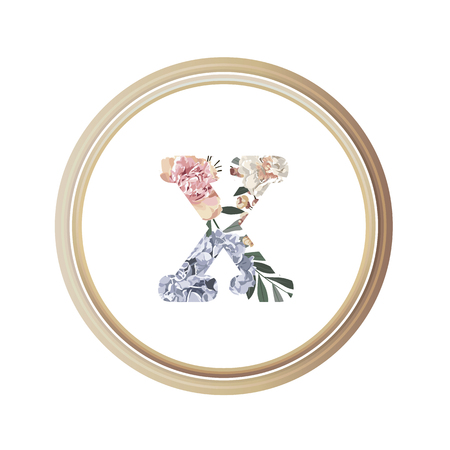 Floral alphabet X of romance greeting card and flower and leaf vector with circle wooden flame.